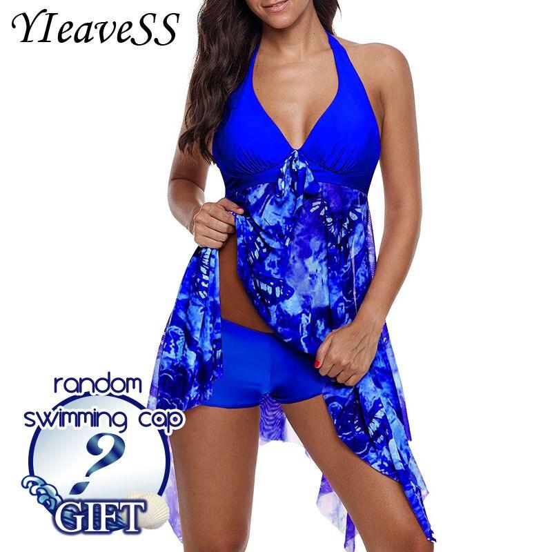 2018 חדש בתוספת גודל Tankini סט נשים בגדי ים שתי חתיכה הדפסת הלטר בגד ים שחייה שמלת רחצה חליפת S--5XL