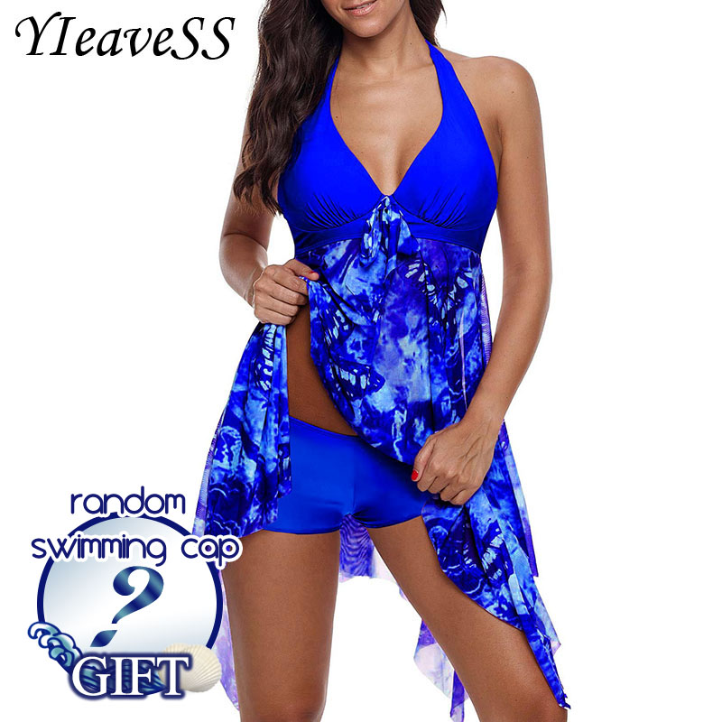 2018 New Plus Size Tankini set Women Swimwear Two Piece Print Halter Swimsuit Swimming Dress Bathing