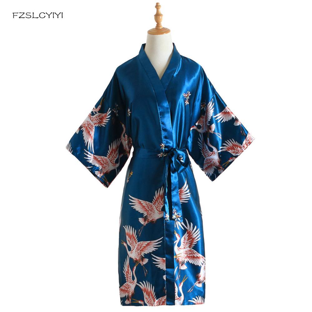 FZSLCYIYI Print Female Sleepwear Lake Blue Chinese Silk Rayon Robe Dress Bridemaids Sexy Wedding Nightgown Kimono Bathrobe