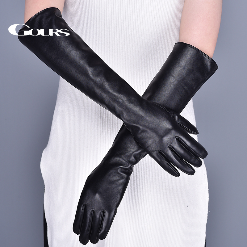 Gours Long Genuine Leather Gloves For Women Winter Warm Black Real Sheepskin Finger Touch Screen Glove Fashion Mitten New GSL079