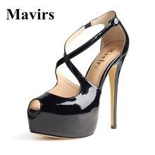 MAVIRS 2017 Peep Toe Zapato con Cierre de Verano Cruz-Correa Sexy Extrema Plataforma de Los Tacones Altos Sandalias Stiletto Zapatos de Las Mujeres de La Bomba calzado