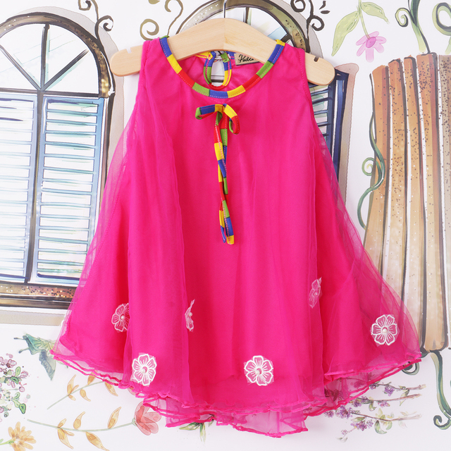 New Beautiful Kids Girls Floral Birthday Party Dress Beach Clothes