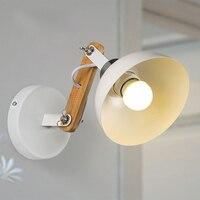 Nordic Retro Weiß Metall Gang Lampe Moderne Kreative Holz Wandleuchten Leuchte Schlafzimmer Wohnzimmer Wandleuchte WL248-in Wandleuchten aus Licht & Beleuchtung bei