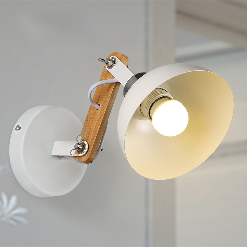Nordic Retro White Metal Aisle Lamp Modern Creative Wood Wall Sconces Lighting Fixture Bedroom Living Room Wall Light WL248 modern bedside lamp wall light minimalist fabric shade wall sconces lighting fixture for balcony aisle hallway wall lamp wl214