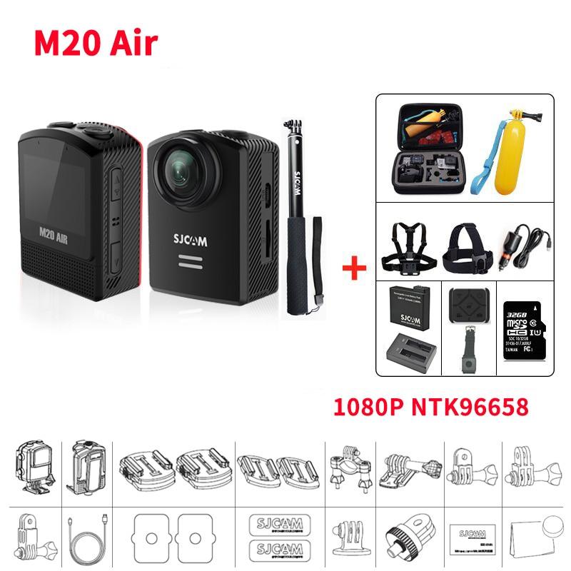 цены Original SJCAM M20 Air Mini Action Helmet Sports DV Camera Waterproof 1080P HD NTK96658 12MP 1.5 inch LCD With RAW Format SJ CAM