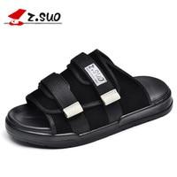 ZSUO 2019 New Summer Mens Slippers Shoes Black Flip Flops Men's Flat Beach Slippers Outdoor Massage Sandals Slippers