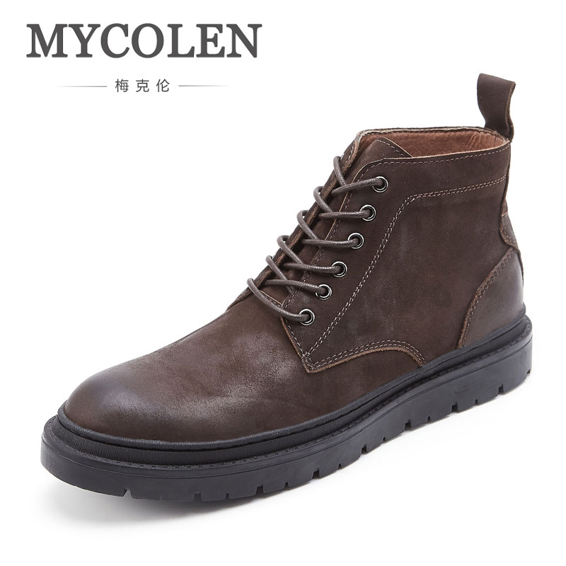 MYCOLEN Hot Sale Leather Winter Shoes Men Handmade Ankle Men Boots Warm Snow Winter Boots Men High Quality Leather Boots Man elevator shoes taller 2 56 inch winter genuine leather men boots fashion warm wool ankle boots men snow boots shoes hot sale