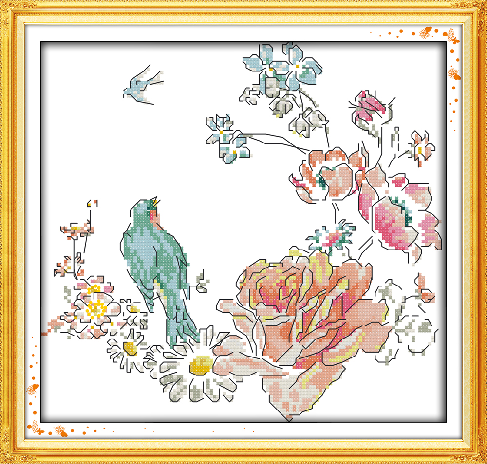 Everlasting love The bird and roses Ecological cotton Cross Stitch 11CT 14CT clear stamped Printed DIY gift christmas New Year
