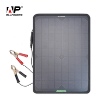 ALLPOWERS Portable Solar Panel 18V 12V 10W Battery Maintainer Charger for Car Boat RV with Alligator Clips and Line.