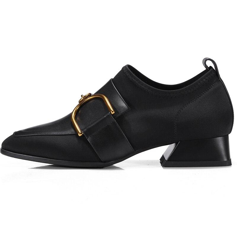 Größe Black Leder Ferse 34 2018 Schuhe Echtem Anmairon Hohe Karree 42 Casual Und Pumpen Ly366 Frauen WYPpWFSZ