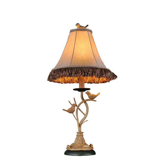 Vintage european american country handmade resin birds fabric led vintage european american country handmade resin birds fabric led e27 table lamp for living room bedroom aloadofball Image collections