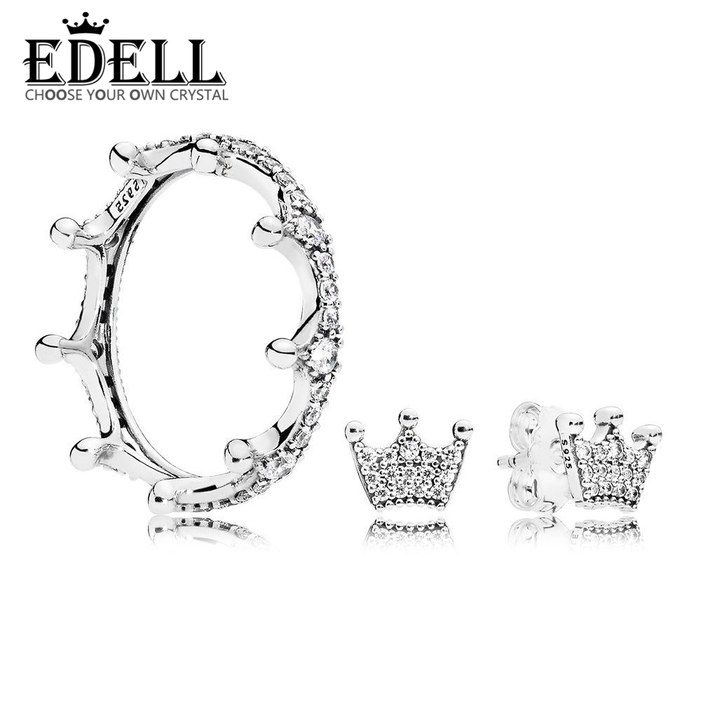 EDELL 100% 925 Sterling Silver Simple and Elegant Original ENCHANTED CROWN RING EARRING STUDS Set Charming Gift Recommended