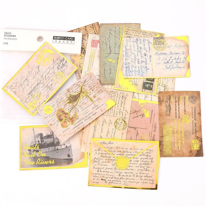 Decorative Paper Bronzing Sticker Mixed Rectangle Postcard Scrapbooking Notebook Decoration 7x6.2cm 7x4.1cm, 1 Packet(24 Pack)