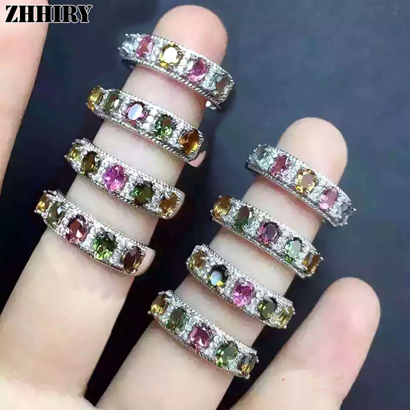 Women natural Tourmaline gem ring 925 sterling silver Lady's gem stone jewelry ZHHIRY