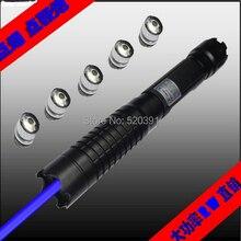 Высокой мощности синий лазерный указатель 200000 МВт 200 Вт 450nm Фонарик горящая спичка/бумага/сухая древесина/свечи/черный/запись сигареты 5 колпачки