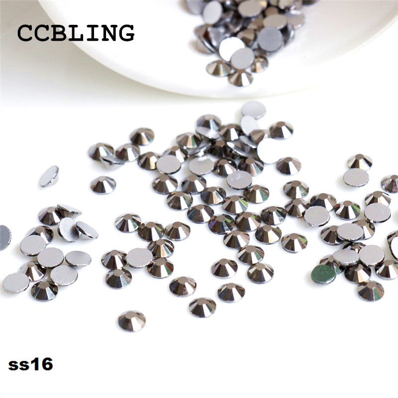1440pcs/Lot, ss16 (3.8-4.0mm) Crystal Jet JEMATITE Flat Back Nail Art Non Hotfix Rhinestones crystal decorations for nails diy ss16 crystal light siam rhinestones for nail art 1440pcs pack flat back non hotfix glue on nail art decorations diy supplies