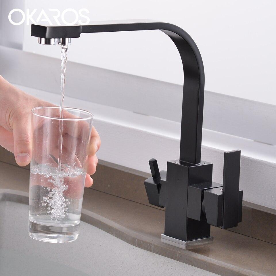 OKAROS filtre noir robinet de cuisine robinet en laiton deux trous carré cuisine Bar eau potable mélangeur grue Grifo de cocina C016