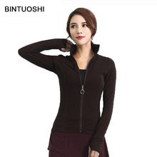 BINTUOSHI Women Running Jacket Zipper Sports Jackets Stand Collar Fitness Tracksuits Solid Training Coat Long Sleeve Sweatshirts women autum winter sports sweatshirts zipper running jackets fitness tracksuits yoga training gym coat with long sleeve