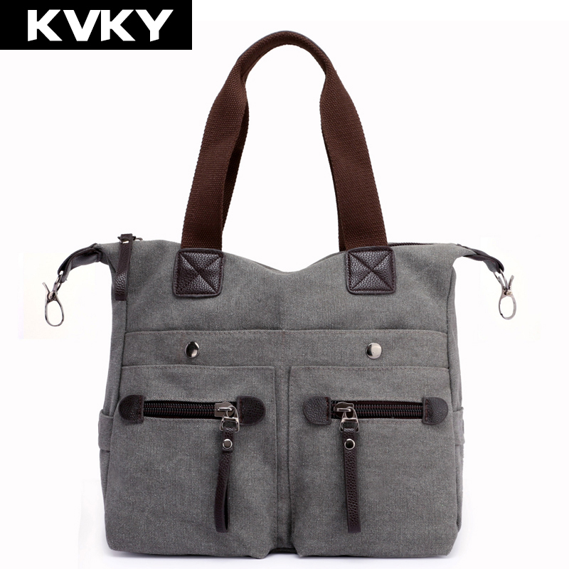 KVKY Brand High Quality Canvas Women Handbags Large Capacity Female Casual Totes Solid Shoulder Bag Vintage Messenger Bag Bolsas kvky vintage woman canvas handbags large capacity casual tote women shoulder bag brand messenger bags ladies shopping bag bolsa
