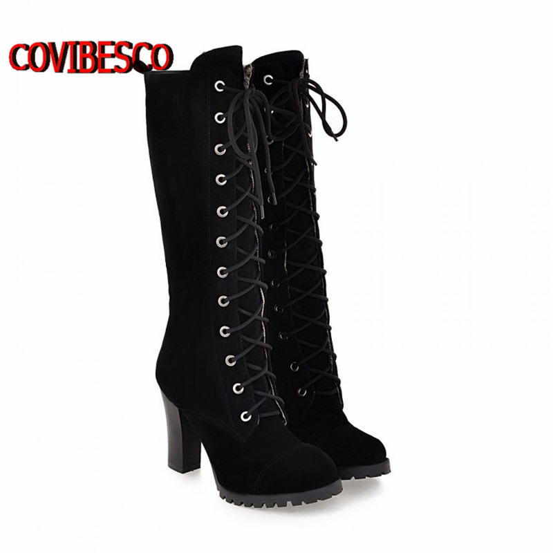 ФОТО Plus size33-43,All-new autumn winter boots women ladies'  sexy knee high boots for women lace up long boots ladies knight boots