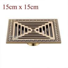 15 x 15 6 дюймов площадь ванной душ трап ловушка отходов решетка античная латунь сетка утечка