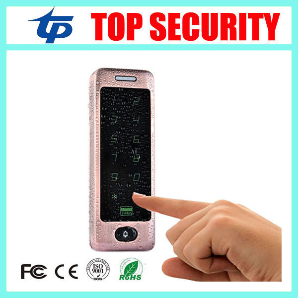 Free shipping 125KHZ RFID card access controller single door standalone access control proximity card reader with touch keypad good quality metal case face waterproof rfid card access controller with keypad 2000 users door access control reader