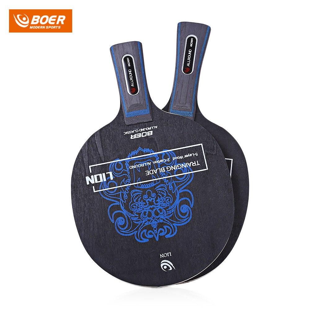 BOER 1pcs Outdoor Lion Pattern Table Tennis Ping Pong Racket Training Blade Horizontal Grip Straight Grip Ping Pong Racket