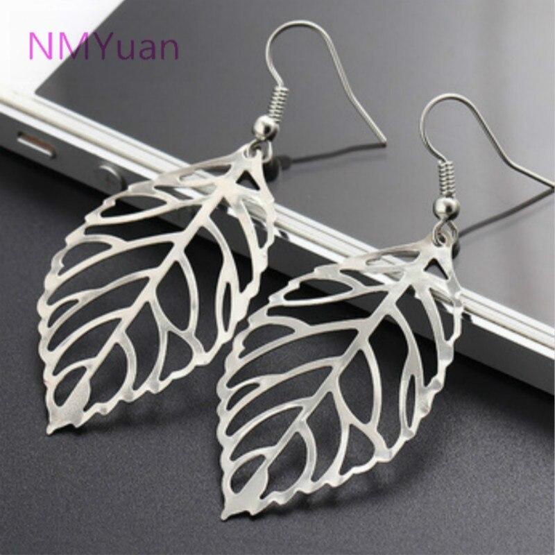 Hot fashion retro leaf gold, silver earrings new design ...