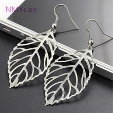 Noble dangle bohemian leaf hollow earring drop charm design earrings gold