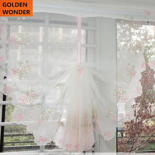 Hot Sale Pink Purple Voile Tulle Cloth Balloon Curtains Window Cortina  Sheer Blind Curtain For Living