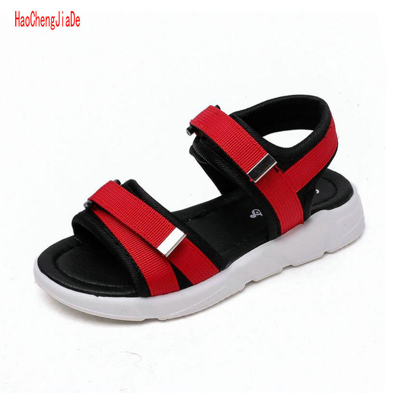 2018 Summer Boys Girls Nubuck Leather Sandals Fashion Kids Summer Flats Single Beach Shoes Children Antislip Sole Sandals