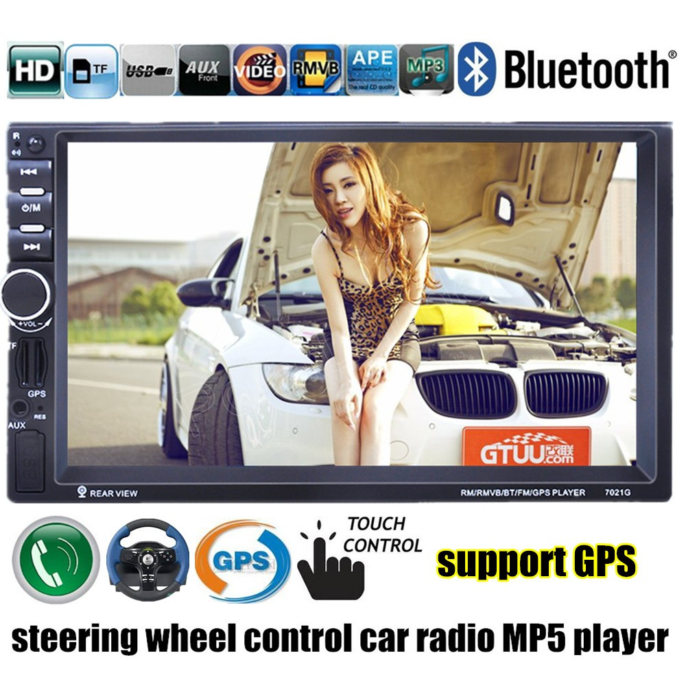 7'' inch 2 Din Car Radio MP5 MP4 Player Bluetooth Video USB TF FM stereo steering wheel control 8G map card to GPS mirror link цена