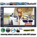 7'' inch 2 Din Car Radio MP5 MP4 Player Bluetooth Video USB TF FM stereo steering wheel control 8G map card to choose GPS