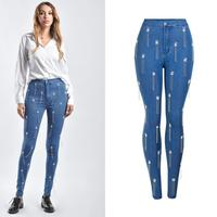 Factory fashion ins Street style Beaded fringed stretch jeans female BF style High Waist tassel beading Jeans wq2005 dropship