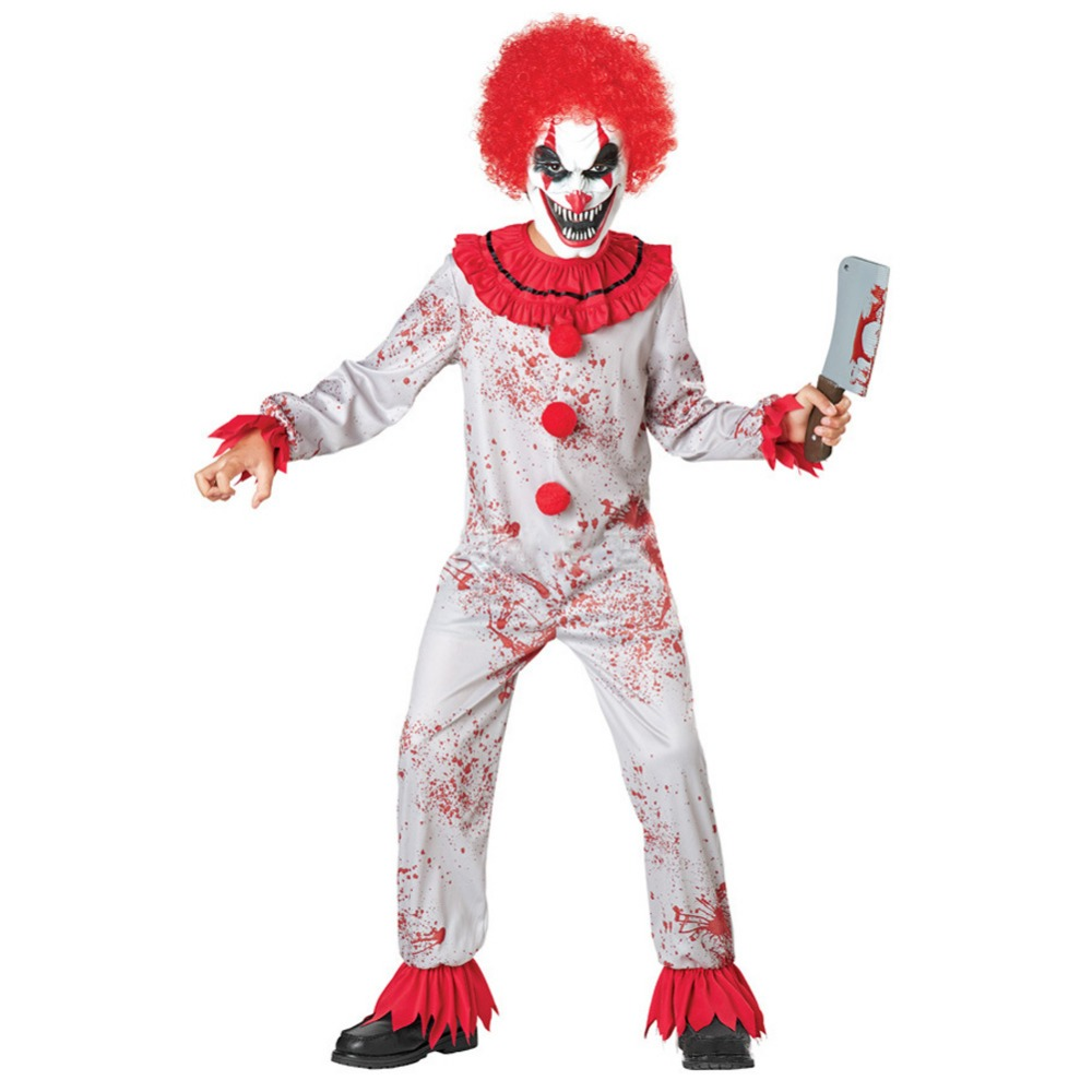 Halloween Kids Horror Clown Blood Costume Stage Performance Joker Costume Zombie Suit Child Carnival Cosplay Party Fancy Dress