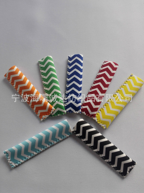 US $88 36 6% OFF Stock DHL 200pcs Chevron Neoprene Popsicle Holders Pop Ice  Sleeves Freezer Summer Icy Block Lolly Holder mix 8 Color-in Other Ice
