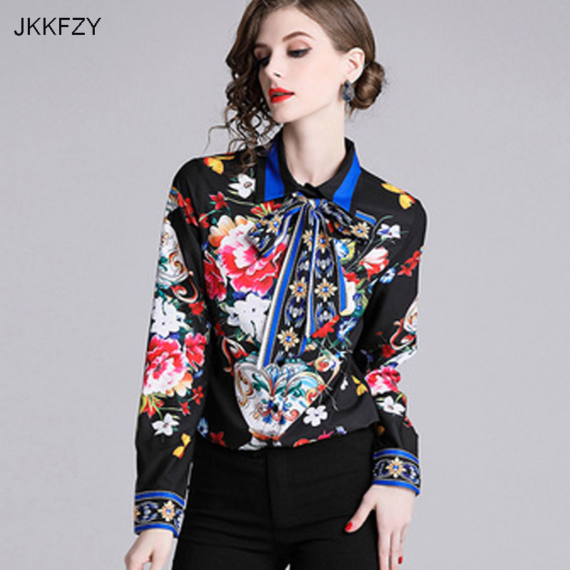 JKKFZY 2018 Autumn Winter New Ladies Long Sleeve Tops Turn-down Collar Shirt  Women Shirt Elegant Casual Blouse