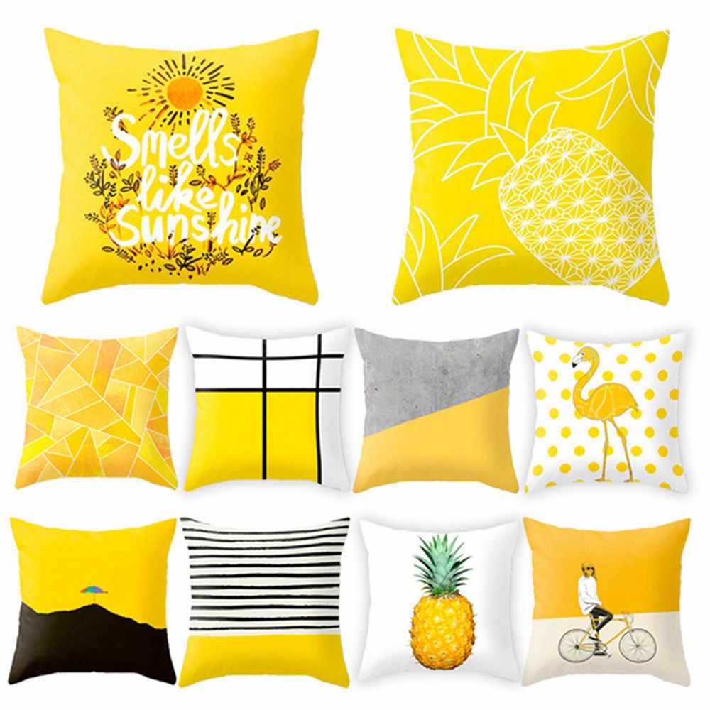 ポリエステル幾何クッション黄色パイナップル枕装飾クッション DIY プリント枕座椅子クッション