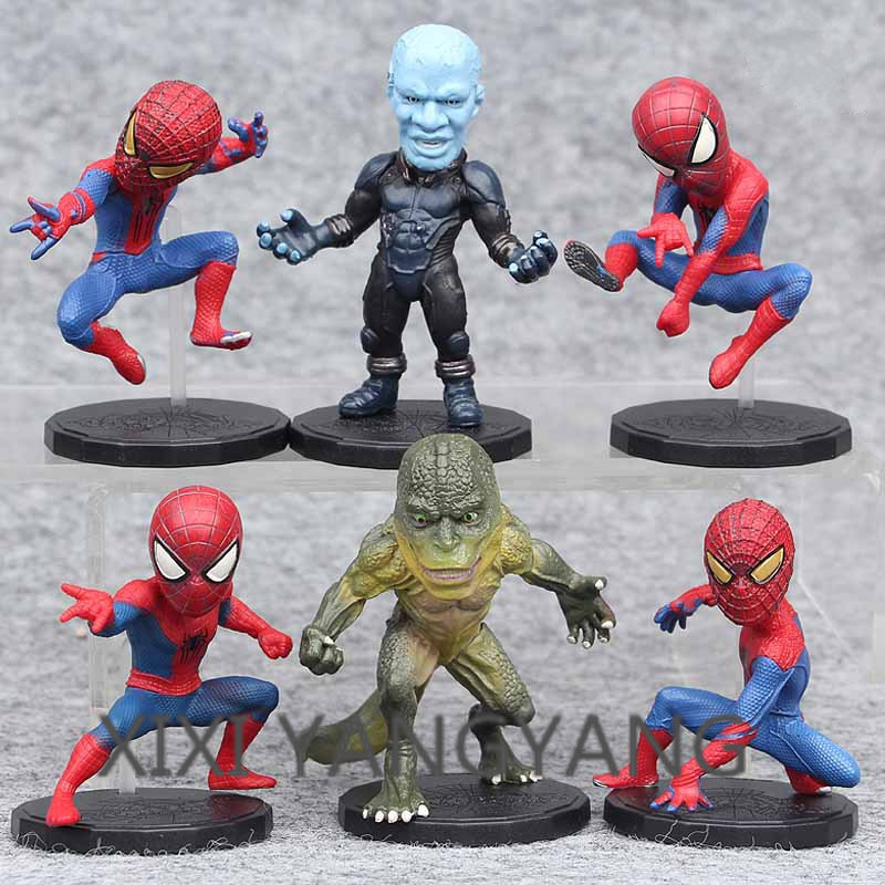 Toys & Hobbies Sets Wcf The Amazing Spider-man Action Figure Electro Lizard Man Car Decoration Pvc Collection Figurine Model Toys 10cm 6parts
