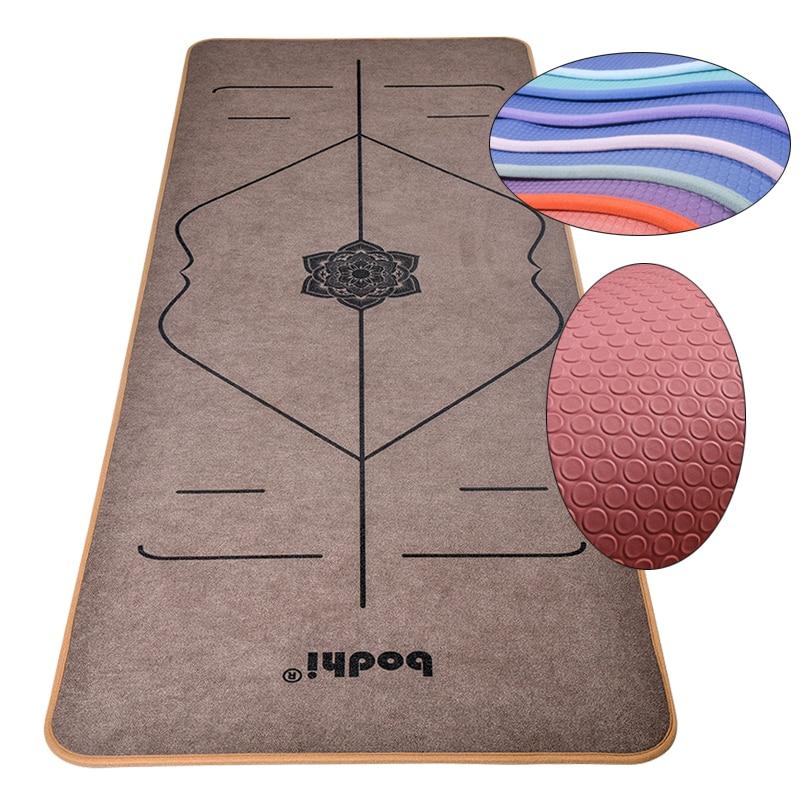 Lock edge 6mm tapis de Yoga microfibre TPE 183x65cm lignes de corps confortables tapis antidérapants pour Yoga Pilates gymnastique exercice