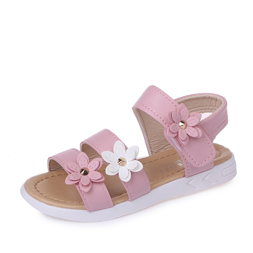 2018 Gilrs Sandals Summer Shoes for Kids Pink Flower Princess Student School Gladiator Childrens Casual Shoes Size 21-36 ...
