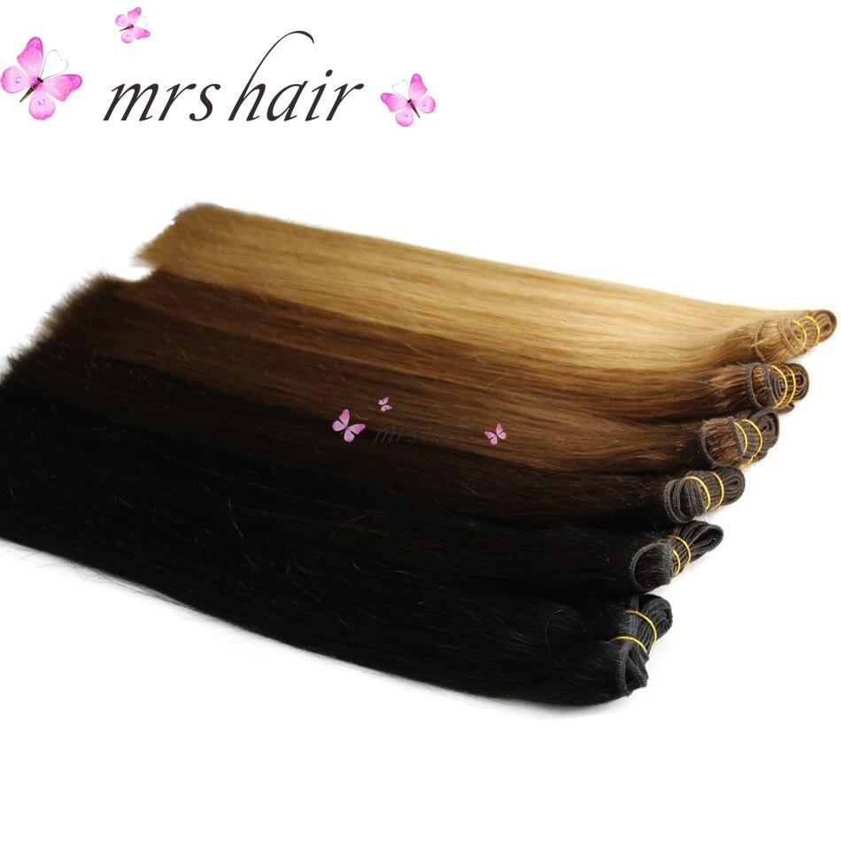 1 шт. человека Синтетические волосы соткут прямые 100 грамм машина сделала Реми Человеческие волосы Комплект блондин черный натуральным воло...
