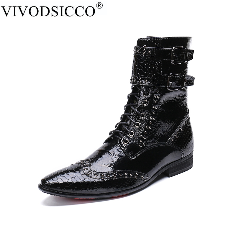 VIVODSICCO Luxury British Style Men Mid Calf Boots Genuine Leather Motorcycle Cowboy Boots Formal Men Brigh Dress Rivets Shoes british style splicing and buckle design mid calf boots for men