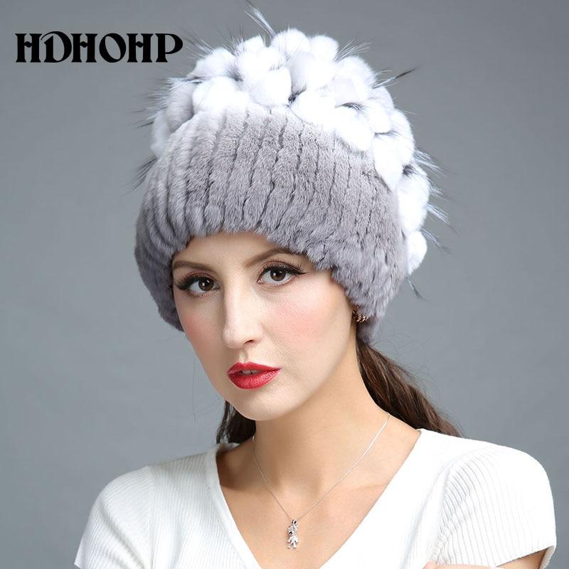 HDHOHR 2017 Nuevo invierno cálido sombrero de piel real para mujer - Accesorios para la ropa - foto 3