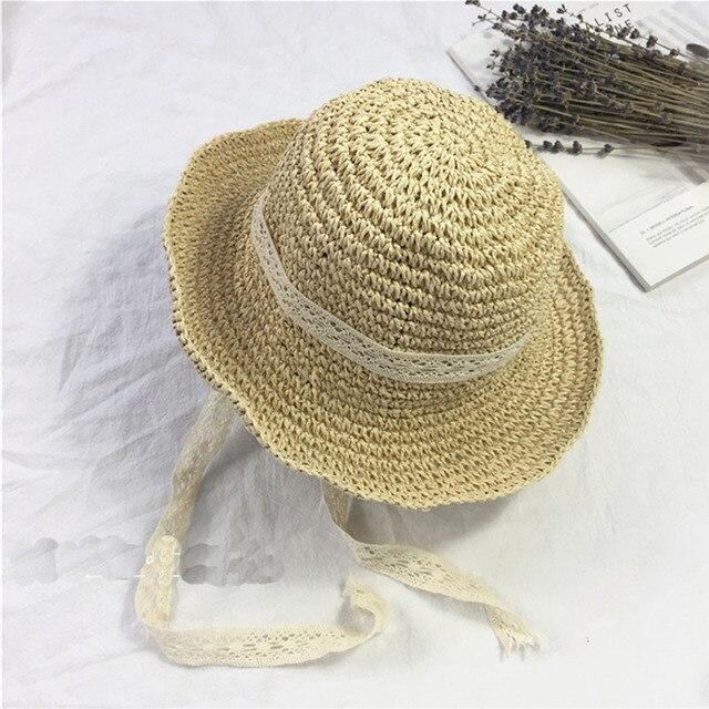 efb52a9eea8a Summer Boater Hats For Women Straw Sun Hat Lady Girls Lace Ribbon Bow  Panama Beach Hats Floppy Female Travel Folding Cap