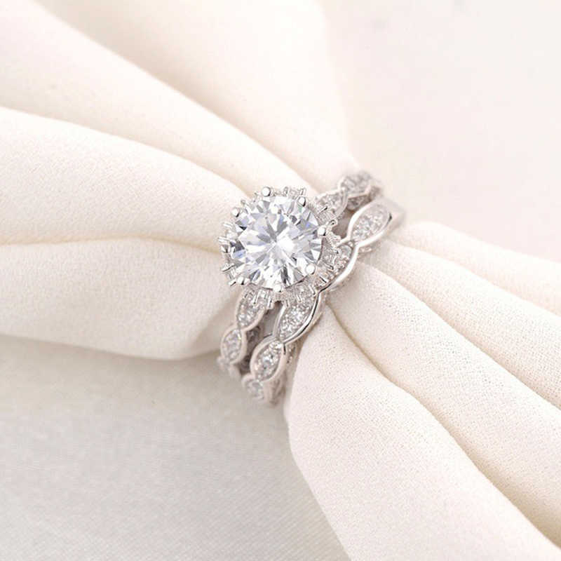 ZHOUYANG חתונה טבעת סטים לאישה יוקרה תחרה מעוקב Zirconia כסף צבע 2 PCS אירוסין מסיבת מתנת תכשיטים KBR151