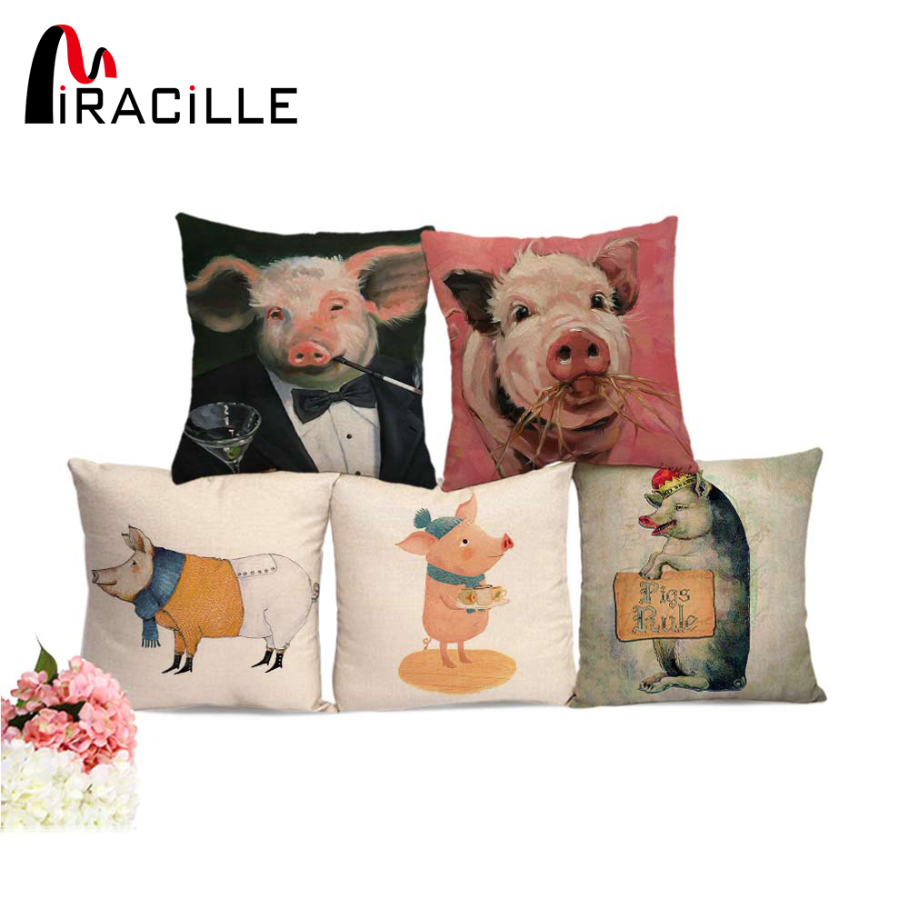 Miracille Cotton Linen Cushion Cover Cute Pig Pattern Cartoon Home Throw Sofa Pillowcase Bedroom Chair Waist Pillow Cover Decor