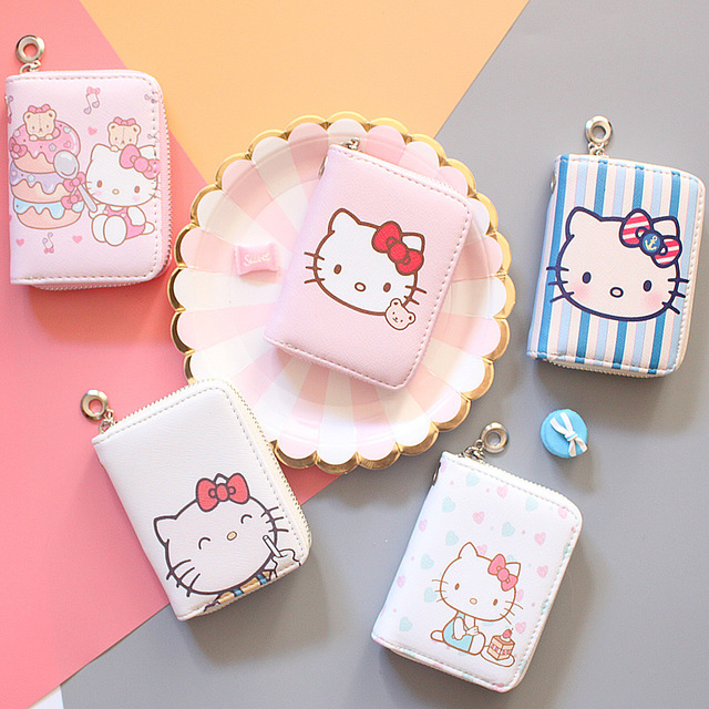 hello kitty Leather women Wallets Coin Pocket girls Zipper PU Leather Mini Wallet with Coin High Quality famale Purse cartera