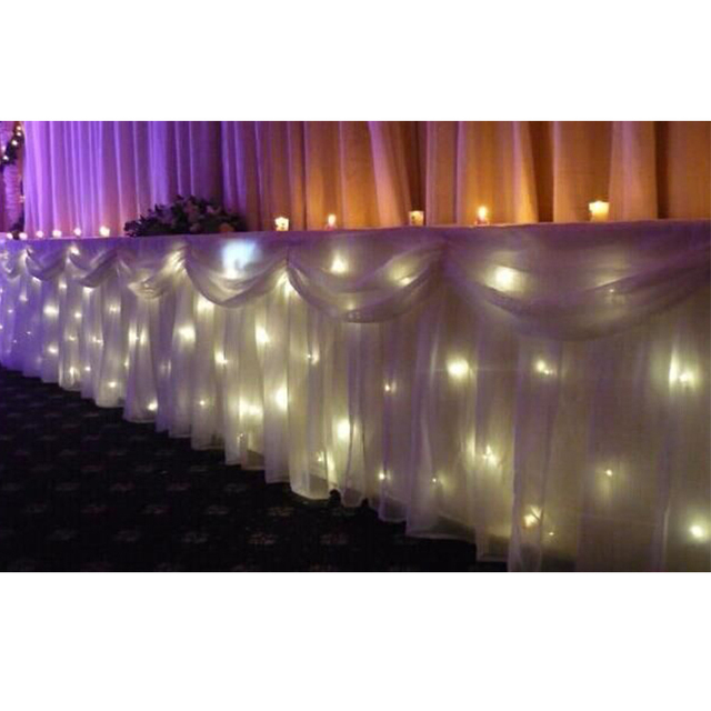 Charmant Wedding Table Skirt Swags With Warm Lights 0.7*8 Meter Length Twinkling  Fireproof Wedding Table