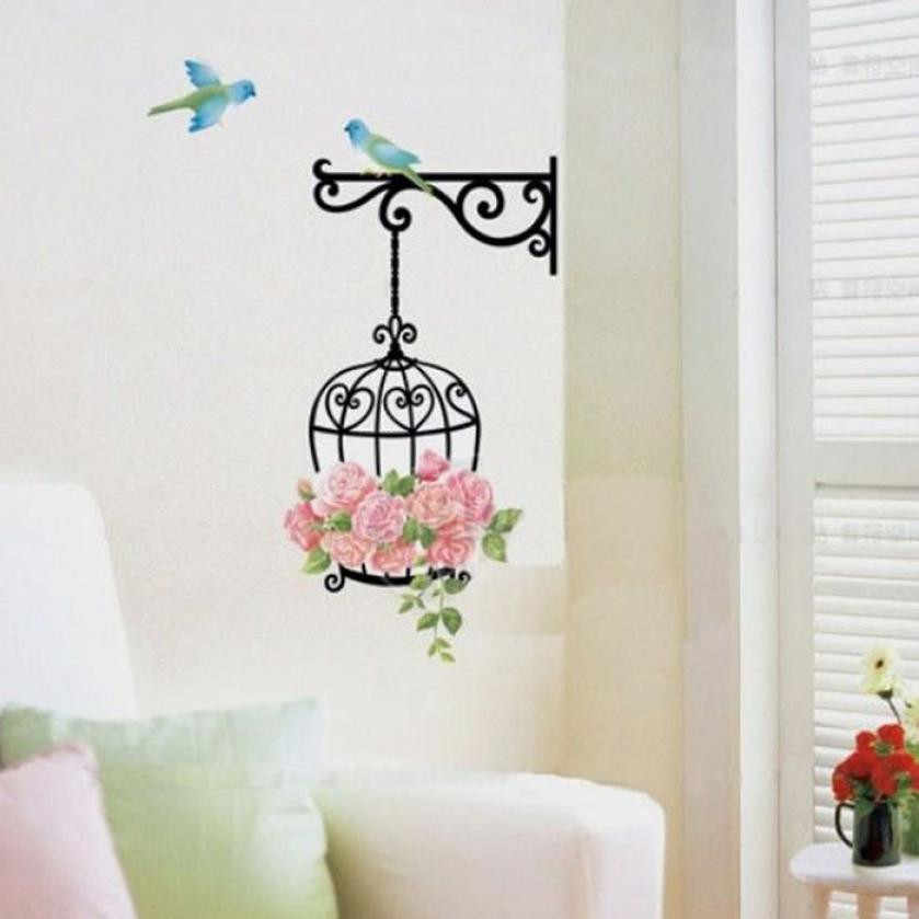DIY Flower birdcage hanging Butterfly Flying Wall Stickers green plant decals bird cage PVC murals wall home decoration